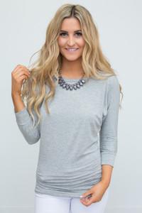 3/4 Sleeve Knit Dolman Tunic - Heather Grey
