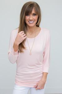 3/4 Sleeve Knit Dolman Tunic - Soft Pink