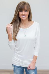 3/4 Sleeve Knit Dolman Tunic - Ivory