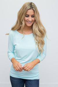 3/4 Sleeve Knit Dolman Tunic - Aqua