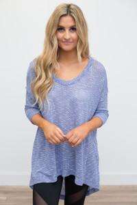 High-Low Knit Tunic - Cornflower Blue - FINAL SALE