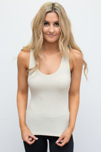 Basic Ribbed Tank - Beige - FINAL SALE