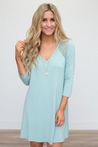 Lace Detail V Neck Dress - Mint