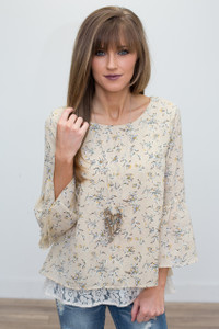 Floral Print Bell Sleeve Blouse - Beige