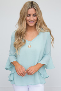 Angel Sleeve Open Back Blouse - Mint