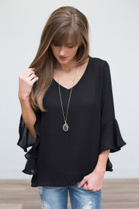 Angel Sleeve Open Back Blouse - Black