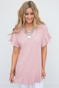 Ruffle Sleeve Drop Waist Tunic - Rose