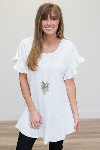 Ruffle Sleeve Drop Waist Tunic - Off White