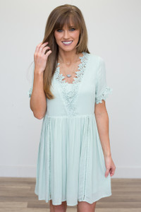 Crochet Lace V-Neck Babydoll Dress - Mint - FINAL SALE
