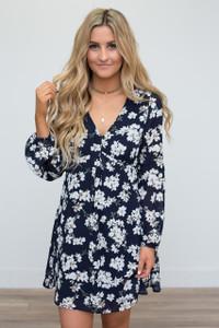 Floral Print V-Neck  Dress - Navy - FINAL SALE
