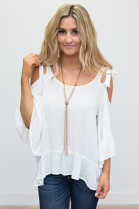 Cold Shoulder Ruffle Sleeve Blouse - Off White - FINAL SALE