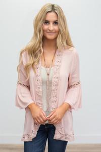 Crochet Lace Trim Lightweight Cardigan - Dusty Pink