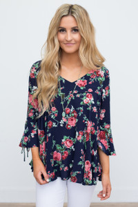 Floral Print Bell Sleeve Blouse - Navy - FINAL SALE