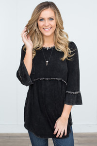 3/4 Sleeve Babydoll Tunic - Black