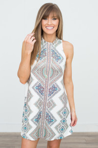 Moroccan Print Sleeveless Dress - Off White