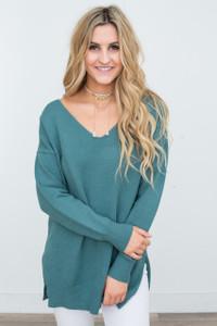 V-Neck Side Split Sweater - Evergreen