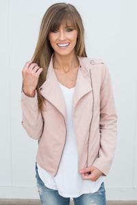 Faux Suede Moto Jacket - Blush