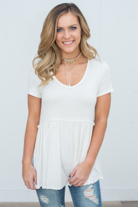 Short Sleeve Babydoll Tunic - Ivory