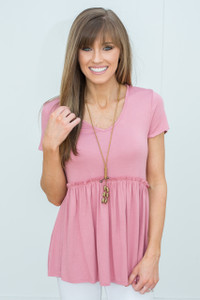 Short Sleeve Babydoll Tunic - Rose