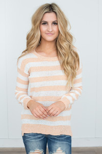 Striped Lightweight Sweater - Orange