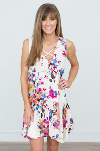 Gardenia Floral Print Sleeveless Dress - Ivory Multi