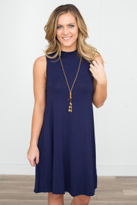 Sleeveless Mock Neck Dress - Navy