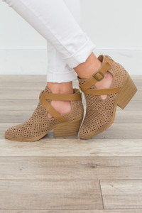 Perforated Strap Front Bootie - Toffee