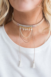 Tassel Chain Choker - Tan - FINAL SALE