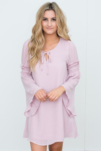 Bell Sleeve Tie Front Dress - Lilac