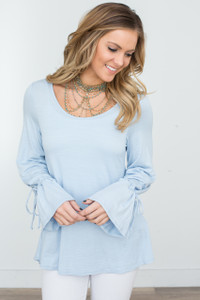 Drawstring Sleeve Tunic - Sky Blue