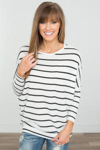 Striped Dolman Sleeve Waffle Knit - Off White/Black