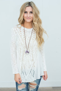 Side Contrast Detail Sweater - Ivory