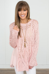 Side Contrast Detail Sweater - Light Pink