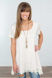 Renew Lace Trim Short Sleeve Tunic -  Cream