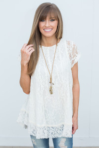 Short Sleeve Lace Tunic - Off White