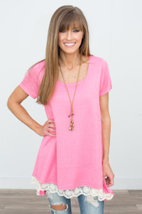 Renew Lace Trim Short Sleeve Tunic - Pink