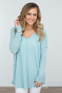 V-Neck Waffle Knit Tunic - Mint - FINAL SALE