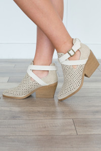 Perforated Strap Front Bootie - Stone - FINAL SALE