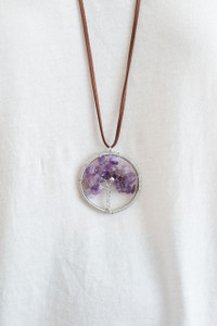 Crystal Tree Pendant Necklace - Purple - FINAL SALE