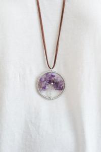 Crystal Tree Pendant Necklace - Purple