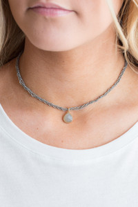 Beaded Pendant Choker - Grey