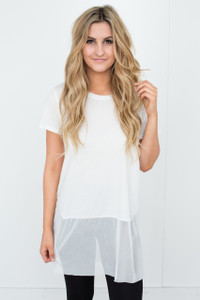 Sheer Mesh Trim Tunic - White