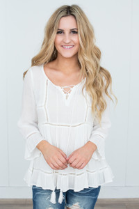 Tassel Tie Peasant Blouse - Off White
