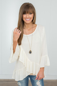 Ruffle Detail Blouse - Cream