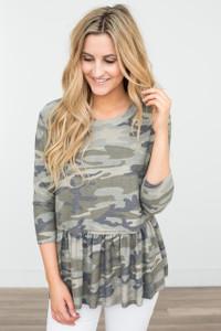 Camouflage Print Peplum Top - Olive