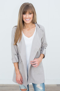 Open Front Hooded Jacket - Taupe