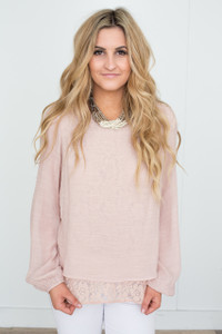 Lace Underlay Split Back Blouse - Blush
