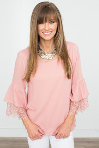 Lace Bell Sleeve Blouse - Rose - FINAL SALE
