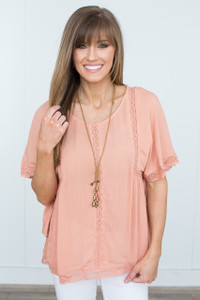 Tie Waist Lace Detail Blouse - Salmon - FINAL SALE