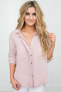 Frayed Edge Button Down Top - Blush